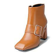 Women's Boots Spring / Fall / Winter Fashion Boots Leather Casual Chunky Heel Buckle Black / Brown Others