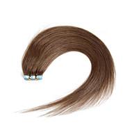 30-50g / pack 16-24inch indian remy hår # 8 aske brun medium browm bånd i menneskelige hår extensions