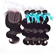 Trama do cabelo com Encerramento Cabelo Peruviano Retas 4 Peças tece cabelo