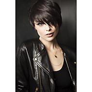 naturlig bølgete korte menneskelig hår parykker for kvinne