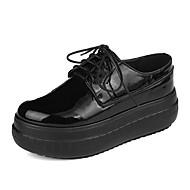 Damen-Sneaker-Lässig-PU-Flacher Absatz-Komfort-Schwarz Weiß