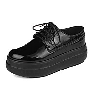Sneakers-PU-Komfort-Dame-Sort Hvid-Fritid-Flad hæl
