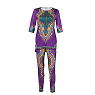 Women's Casual/Daily Vintage Fall Shirt PantPrint Round Neck  Length Sleeve Purple Polyester Opaque