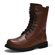 Kényelmes-Lapos-Női cipő-Csizmák-Alkalmi-PU-Fekete Barna