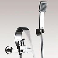 Kortárs / Art Deco / Retro / Modern Kifolyócső és zuhany Vízesés / Kézi zuhanyzót tartalmaz with  Kerámiaszelep Egy fogantyú két lyukat