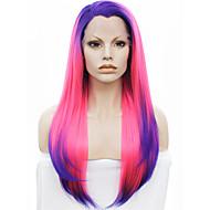imstyle 16 roze-blauw ombre synthetische lace front pruiken met blauwe wortel
