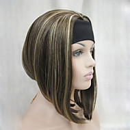 neue Art und Weise kastanienbraun mit Ingwer unterstreicht 3/4 Perücke mit kurzen geraden synthetischen halbe Perücke Stirnband Frauen