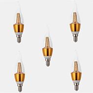 7W E14 LED svíčky CA35 35LED SMD 2835 650LM lm Teplá bílá Ozdobné AC 220-240 V 5 ks
