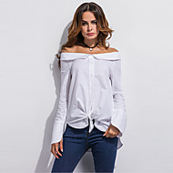 Women's Off The Shoulder Going out / Casual/Daily Simple / Street chic Summer / Fall ShirtSolid Boat Neck Long Sleeve White