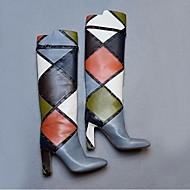 נשים-מגפיים-PU-מגפי אופנה-אפור-שטח-עקב עבה