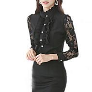 Mulheres Camisa Casual Sensual / Vintage Primavera,Patchwork Branco / Preto Poliéster Colarinho de Camisa Manga Longa Média