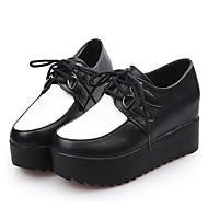 נשים-נעלי ספורט-דמוי עור-קריפרס-שחור / שחור ולבן-שטח / קז'ואל-פלטפורמה