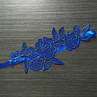 Harisnyakötő Sztreccs szatén Csipke Virág Kék