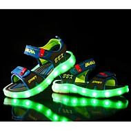 Jungen Sandalen Leuchtende LED-Schuhe PU Sommer Normal Walking Leuchtende LED-Schuhe Klettverschluss Flacher Absatz Schwarz Blau Hellblau