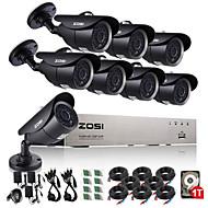 zosi® 8-kanals ahd 720p dvr 1TB hdd 8pcs systemet CCTV overvågningskamera 1.0 mp