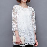 1/2 ærmelængde Rund hals Blank Kvinders Hvid / Sort Ensfarvet Forår Plusstørrelser / Sødt I-byen-tøj Bluse,Polyester