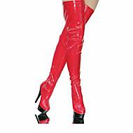 Feminino-Botas-Plataforma Botas da Moda Sapatos clube Light Up Shoes-Salto Agulha Plataforma Salto Alto de Cristal-Preto Preto e Vermelho
