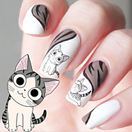 water transfer printen cartoon kitten patroon nail stickers