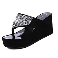 Women's Slippers & Flip-Flops Summer Platform Pigskin Casual Wedge Heel Sparkling Glitter Black / White Others