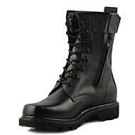 Men's Boots Combat Boots Leather Winter Outdoor Combat Boots Lace-up Flat Heel Black Flat