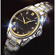BOSCK® Men's  Automatic Mechanical Hollow Dial Calendar Silver Gold Steel Band Wrist Dress Watch
