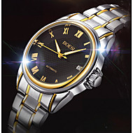 BOSCK 男性用 ドレスウォッチ 機械式時計 クォーツ カレンダー 耐水 ステンレス バンド カジュアルスーツ 世界地図柄 ゴールド