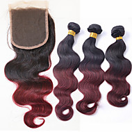 3 Pieces Body Wave Brazilian Human Hair Weaves 300g and One 4''*4'' Top Closure Human Hair Extensions 12 inch to 24 inch