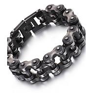 צמידים שרשרת וצמידים פלדת על חלד Geometric Shape אופנתי Halloween / Party / יומי / קזו'אל תכשיטים מתנות שחור,1pc