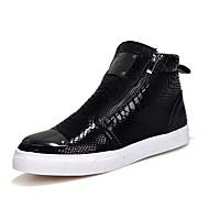 Men's Fashion Boots Snakeskin Pattern Shoes High Top Shoes Flat Heel Black / Silver / Gold Walking EU39-43