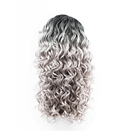 New Style Black Roots Grey Hair Ombre Hair Two Tones Lace Front Loose Wave Synthetic Hair Lace Wigs