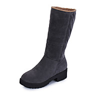 Feminino Botas Conforto Coturnos Couro Ecológico Inverno Casual Caminhada Conforto Coturnos Salto Baixo Preto Cinzento 2,5 a 4,5 cm
