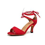 Sapatos de Dança(Azul / Vermelho) -Feminino-Personalizável-Latina