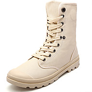 Men's Boots Spring / Summer / Fall / Winter Comfort Canvas Outdoor / Athletic / Casual Flat Heel Button / Lace-up Black / Gray / Khaki