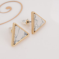 New Arrival 2016 Trendy Gold Fashion Triangle Geometric Marbled White Faux Stone Stud Earrings For Women