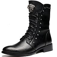 Bootsit-Leveä korko Block Heel-Miehet-Synteettinen--Rento Juhlat-Länkkärisaappaat
