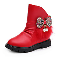 Girl's Boots Fall Winter Fashion Boots PU Casual Flat Heel Bowknot Black Red Champagne Walking