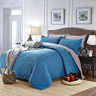 Blue Gray High-end Aloe Cotton Reactive Printing Solid Fashion Bedding Set 4PC FULL Size