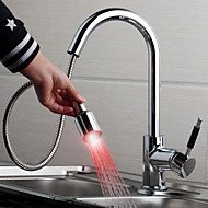 Contemporary Pull-out/Pull-down Deck Mounted LED with Ceramic Valve Single Handle One Hole for Chrome , Kitchen faucet