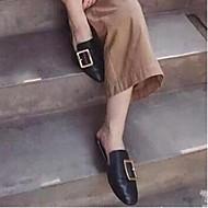 נשים-נעליים ללא שרוכים-עור-נוחות-שחור / ורוד / לבן-קז'ואל-עקב שטוח