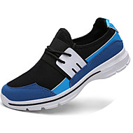 Men's Athletic Shoes Spring Fall Comfort PU Casual Flat Heel Lace-up Black Blue Gray Walking