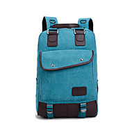 Casual Outdoor Backpack Unisex Cowhide Canvas Cotton Blue Brown Red Black