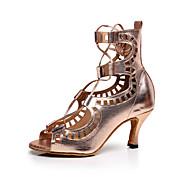Chaussures de danse(Or) -Personnalisables-Talon Bas-Cuir-Latine