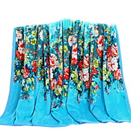 Bedtoppings Blanket Flannel Coral Fleece Fake Mink Queen Size 200x230cm Blue Flower Prints 310GSM