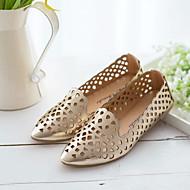 Loafers og Slip-ons-PU-Komfort-Dame-Sort / Hvid / Sølv / Guld-Hverdag-Flad hæl