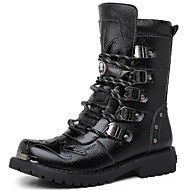 Men's Boots Fashion Boots Combat Boots Nappa Leather Fall Winter Casual Party & Evening Fashion Boots Combat Boots Black 1in-1 3/4in
