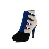 Feminino-Botas-Gladiador-Salto Agulha-Preto / Azul / Vermelho-Veludo-Social / Casual