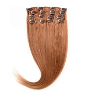 grampo no cabelo humano extensões de seda retas # 30 de 100% cabelo humano 16-24 polegadas clipe brasileira no cabelo preço preferencial.
