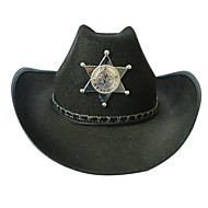 Halloween Props Cosplay Festival Western Howboy Black Hat Beach Tourism Men And Women Five - pointed Star Printing Sheriff Hat