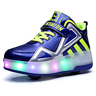 Boy's Athletic Shoes Spring Summer Fall Winter Comfort Light Up Shoes PU Outdoor Casual Athletic Platform Buckle Black Blue White