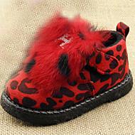 Boy's Boots Fall Winter Comfort Fur Casual Flat Heel Red Leopard Walking